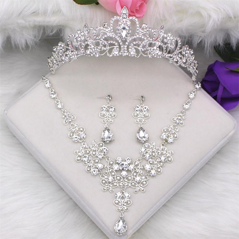 新娘头饰套装皇冠三件套韩式婚礼结婚首饰婚纱配饰项链耳环饰品新娘头饰