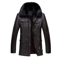 冬装中老年皮衣外套中年男士PU皮夹克毛翻领中长款加绒加厚爸爸装