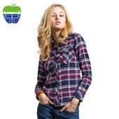texwood苹果2014秋季新品 枣红色格子衬衫女长袖上衣9623241A