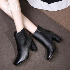 香阁儿品牌短靴女鞋子欧美时尚真皮方头粗跟高跟鞋时装靴子女