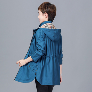 秋季外套女中长款中老年女装纯棉长袖妈妈装夹克休闲大码宽松风衣杨桃