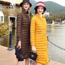KAMILAN 卡米兰2016冬装新款小立领系扣中长款保暖长袖羽绒服女