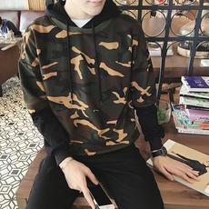 韩版潮流男士假两件套头卫衣秋季新款迷彩印花连帽宽松外套男上衣
