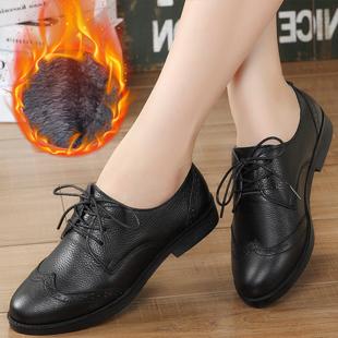 冬季真皮休闲女鞋英伦风布洛克牛津鞋平底平跟女皮鞋子系带加绒鞋