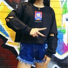 原宿风 韩国ulzzang百搭卡通印花镂空短款长袖T恤套头圆领卫衣女