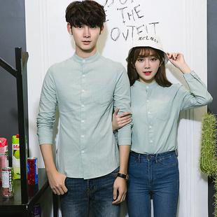 棉麻衬衫男女韩版修身情侣装结婚登记证件照亚麻长袖衬衣学生休闲