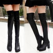 过膝长靴女2017新款秋冬季百搭韩版长筒皮靴粗跟马丁靴高跟女靴子
