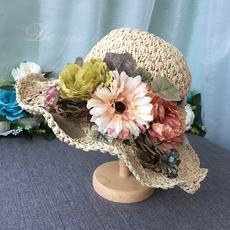 帽子女韩版潮百搭时尚花朵草帽女生夏季小清新款手编沙滩帽可折叠