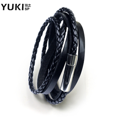 YUKI男士钛钢牛皮&PU皮手链潮人韩版手饰品皮绳 多层手绳女生手环