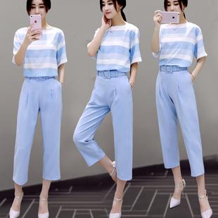 2016夏装新款女装两件套韩版显瘦阔腿裤装休闲雪纺时尚套装夏季潮
