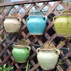 花园装饰 陶瓷花盆 五色可选 欧式复古做旧泥盆 地中海壁挂花盆