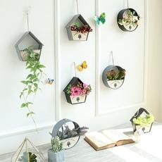 创意田园墙装饰品壁挂墙壁简约圆形房子花卉仿真植物花盆壁饰花篮