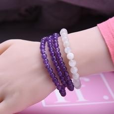 天然水晶手链女紫牙乌石榴石紫水晶草莓晶月光石巴西碧玺多圈手串