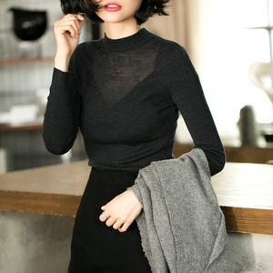 吸睛细节朦胧黑色薄款羊毛针织修身打底衫毛衣女套头秋冬长袖针织衫女
