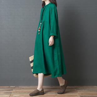 棉麻连衣裙女春秋2018新款韩版宽松大码休闲显瘦长袖亚麻中长衬衫
