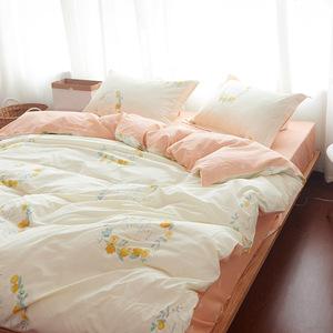 简约小清新韩式卡通全棉四件套床上用品双人纯棉被套床单床笠床品床品四件套
