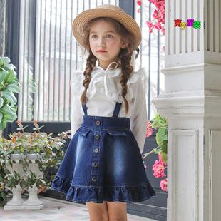 2018春款新款童装韩版女童吊带裙儿童背带裙牛仔花边背心裙全纯棉