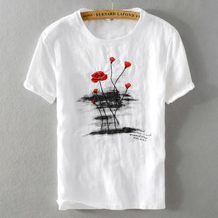 原创短袖亚麻T恤复古中国风玫瑰刺绣男棉麻上衣荷花水墨印花酷奇