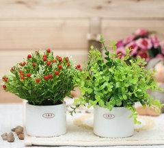 迷你小盆栽摆件 办公桌仿真花小盆景 套装含盆 素雅绿植物假花