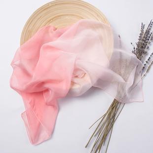 纯色渐变桑蚕丝小方巾丝巾女士真丝围巾儿童百搭纱巾春秋冬季韩国