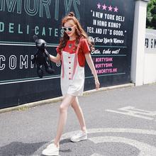 时尚 bf港味学生t恤套装 网红两件套女神夏季2018新款 洋气背带短裤