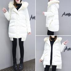 2017冬装新款韩版毛领羽绒服宽松显瘦加厚白色中长款时尚外套女潮