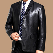 春秋季新款中年男士皮西装中老年男装皮夹克爸爸皮衣西服休闲外套