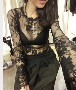 【天天特价】夏季夜店性感透视打底衫 蕾丝长袖纱网透明蕾丝衫T恤