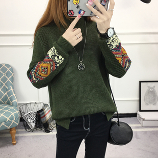 2017春季新款韩版民族风长袖个性毛衣女套头高领针织衫潮流打底衫