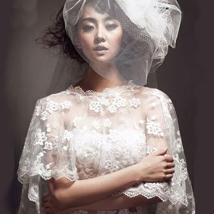 白色婚纱蕾丝披肩 新娘婚纱蕾丝遮肉披肩 胖MM婚纱蕾丝遮手臂披肩