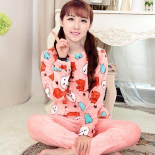 韩版冬季加厚法兰绒女睡衣保暖珊瑚绒修身单层薄款双面绒可爱春秋