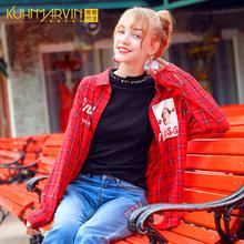 外套 女装 chic长袖 薄款 红色格子衬衫 女生上衣怪味少女2018早秋新款