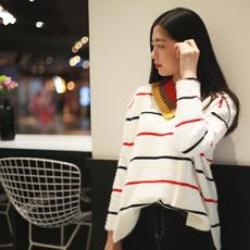 ins超火的毛衣宽松套头加厚复古韩版双领百搭新品彩色条纹毛衣女