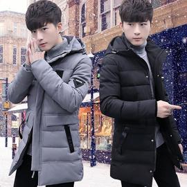 冬季新款青年中长款连帽棉衣男