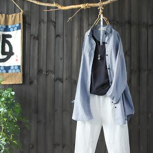 西缺原创 文艺净色 宽松亚麻衬衫女春装新款棉麻衬衣开衫长袖上衣