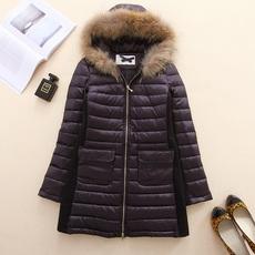 欧S女装秋冬季貉子毛领中长款修身高档时尚轻薄羽绒服33530黑色H8