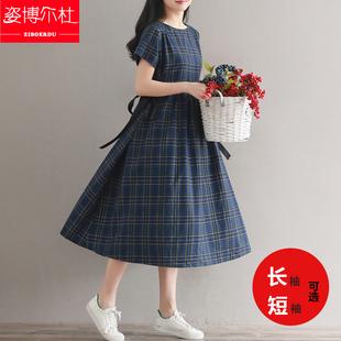 棉麻长裙少女夏装2018新款初中高中学生森系收腰复古格子连衣裙子