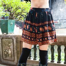 秋冬季新款民族风女装印花裙子短裙 中国风文艺复古碎花半身裙女