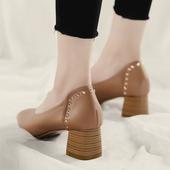 粗跟方头一字扣奶奶鞋2017秋季新款韩版高跟百搭中跟玛丽珍单鞋女
