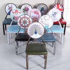 欧式餐椅复古椅创意铁艺餐椅防滑餐椅酒吧椅酒店背靠休闲餐桌椅子