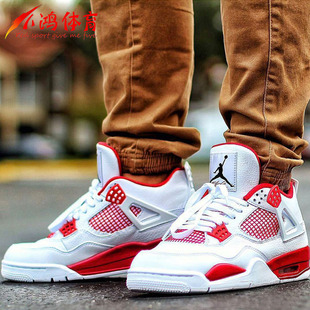 小鸿体育 Air Jordan 4 Alternate 89 AJ4 白红 308497-106