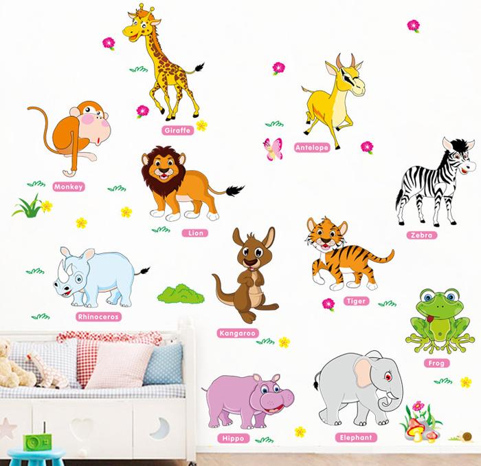 卡通动物英文单词墙贴纸宝宝识字英语贴画幼儿园早教培训教室布置图片