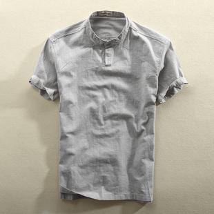 夏季立領亞麻短袖襯衫套頭薄款透氣休閑棉麻襯衣水洗半袖男款上衣