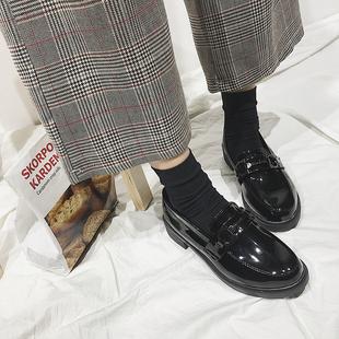 18韩国ulzzang明星同款英伦风chic小皮鞋圆头搭扣厚底单鞋漆皮女