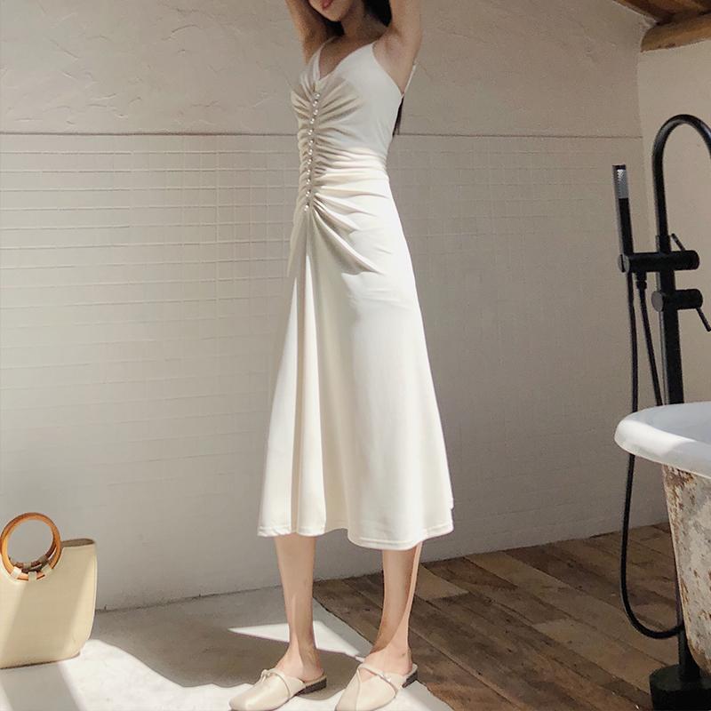 露背米白色连衣裙女夏气质性感v领长裙修身吊带裙晚晚风冰丝裙子图片