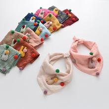 秋季新款儿童围巾纯棉彩球兔子女童三角丝巾宝宝围脖春秋薄款纱巾