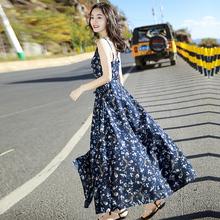 泰国普吉岛沙滩裙海南三亚海边渡假超仙显瘦吊带雪纺连衣裙夏季女