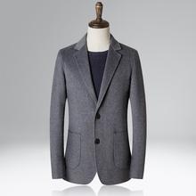 外套 羊毛双面呢修身 男装 休闲西服上衣小西装 秋冬新款 单西商务男士
