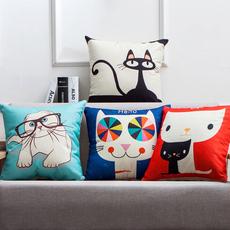 简约现代北欧棉麻布艺家用沙发抱枕创意可爱卡通动漫车上靠垫枕芯