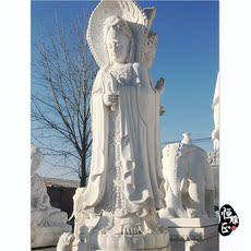 天然汉白玉石头石雕三面观音菩萨佛像雕塑寺庙供奉祭祀摆件直销